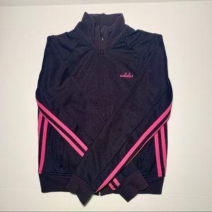 Adidas track jacket size S black pink stripes
